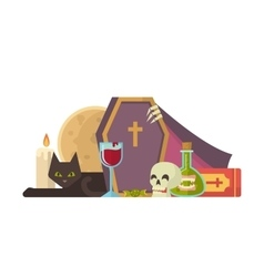 Halloween with coffin and other vector image