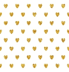 Seamless pattern with golden hearts vector