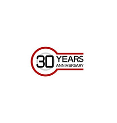 30 years anniversary with circle outline red vector