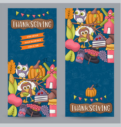 A set of thanksgiving vertical banners happy vector