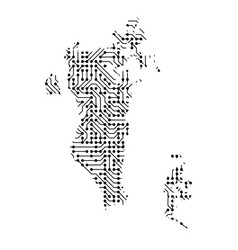 abstract schematic map of bahrain from the black vector image