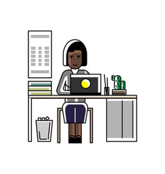 african secretary working at laptop in office vector image
