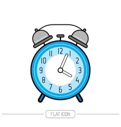 Alarm clock flat color icon Clock isolated on vector