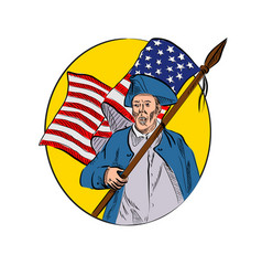 American patriot holding flag drawing vector
