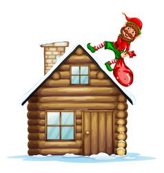 an elf carry christmas gift bag vector image
