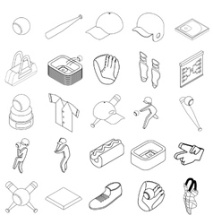 Baseball icons set isometric 3d style vector