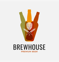 Beer bottles logo hops with wheat on white vector
