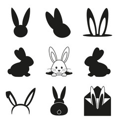 Black and white easter bunny silhouette set vector