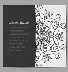Black and white mandala invitation vector