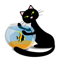 Black cat wants to catch the fish in the aquarium vector image
