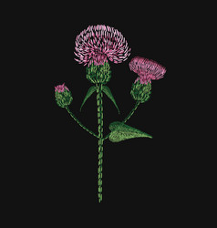 Blooming thistle flower embroidered with stitches vector