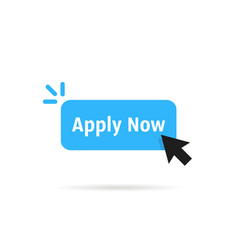 Blue apply now simple button vector