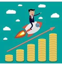 Businessman on rocket vector image vector image