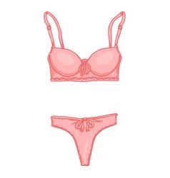 cartoon pink women lingerie female underwear bra vector image