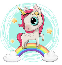 Cartoon unicorn is on the rainbow vector