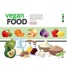 cartoon vegetarian food elements collection vector image