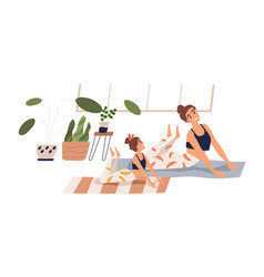 cheerful child and mother practicing yoga together vector image