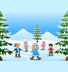 cheerful kids playing in the snow vector image