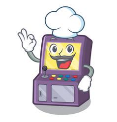 chef toy arcade machine in cartoon drawer vector image