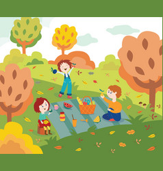children friends at picnic outdoors in autumn park vector image