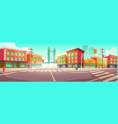 City street with houses and overpass road vector