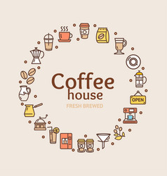 coffee house signs round design template thin line vector image