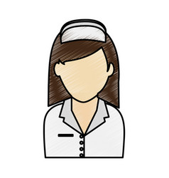 Color pencil image faceless female nurse half body vector