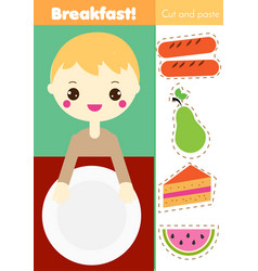 Cut and paste children educational game paper vector