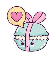 Cute food biscuit ribbon sweet dessert kawaii vector