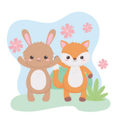 cute fox rabbit flowers foliage cartoon animals vector image