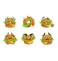 cute kawaii hamburger character with different vector image