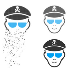 Decomposed pixelated halftone evil soldier face vector