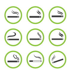 designated smoking area sign set smoking place vector image