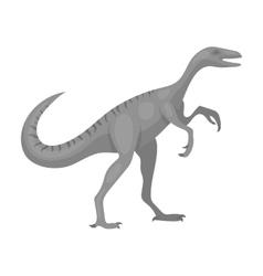 Dinosaur Gallimimus icon in monochrome style vector image