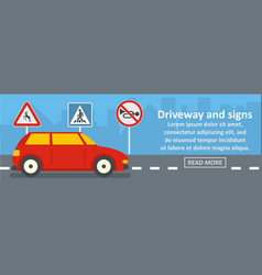 Driveway and signs banner horizontal concept vector