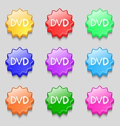Dvd icon sign symbol on nine wavy colourful vector