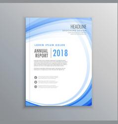 Elegant brochure flyer blue wave design template vector