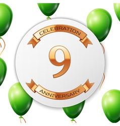 Golden number nine years anniversary celebration vector image