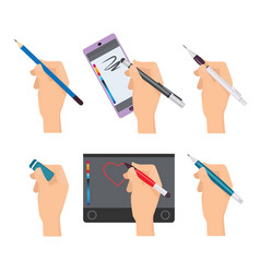 hands holding pen writing items pens markers vector image