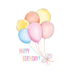 Happy birthday greeting card with balloons vector