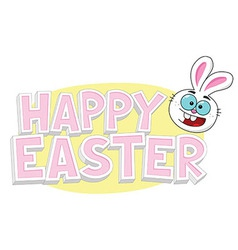 Happy Easter Text With Bunny vector image