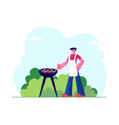 happy relaxed male character in apron cooking vector image