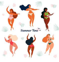 Hawaii summer time holiday girls in bikini vector