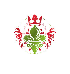 Heraldic coat of arms decorative emblem with lily vector