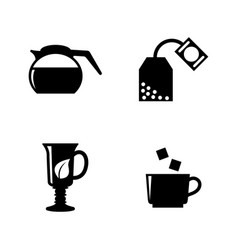 hot drinks tea coffee simple related icons vector image