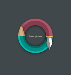 Icon of stylized pencil with writing pen vector image
