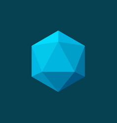 Icosahedron on blue background plane colors vector