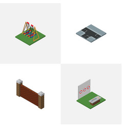 isometric urban set of barrier seesaw crossroad vector image