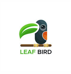 leaf bird logo vector image