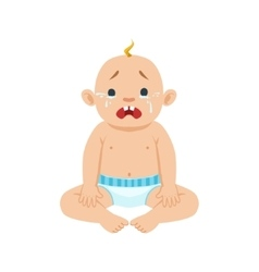 Little Baby Boy Sitting In Nappy Crying With Eyes vector